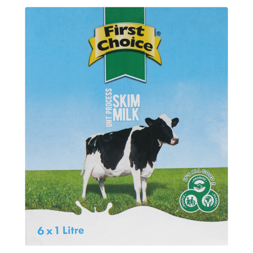 First Choice UHT Process Skimmed Milk Cartons 6 x 1L