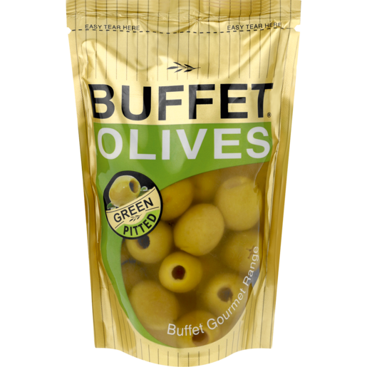 Buffet Pitted Green Olives Sachet 200g