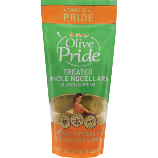 Clover Olive Pride Treated Whole Nocellara Olives In Brine 120g