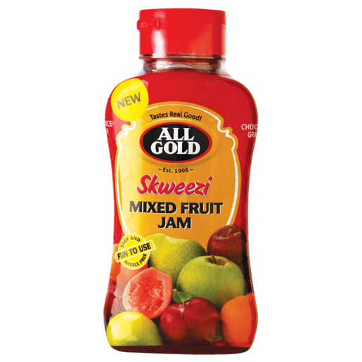 All Gold Skweezi Mixed Fruit Jam Bottle 460g