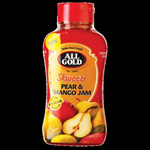 All Gold Skweezi Pear & Mango Jam Bottle 460g