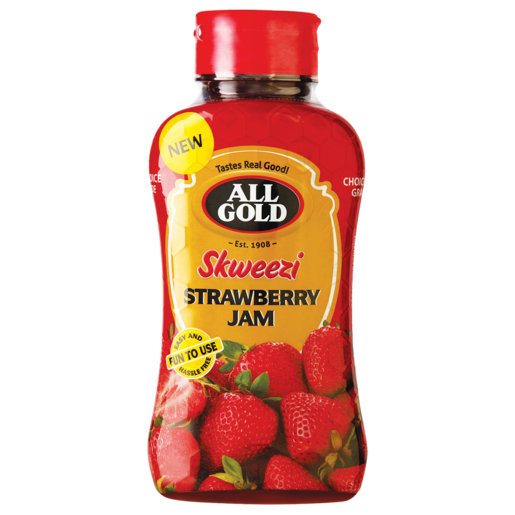 All Gold Skweezi Strawberry Jam Bottle 460g