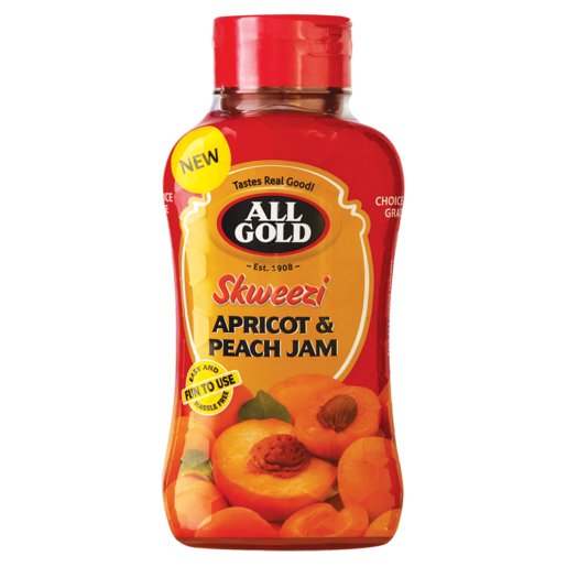 All Gold Skweezi Apricot & Peach Jam Bottle 460g