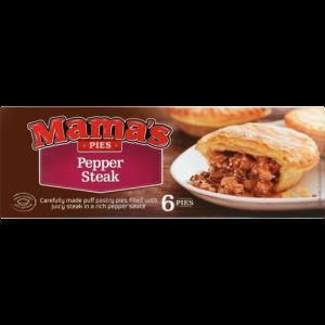Mama's Pies Frozen Pepper Steak Pies 6 Pack