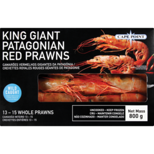 Cape Point Frozen King Giant Patagonian Red Prawns 800g