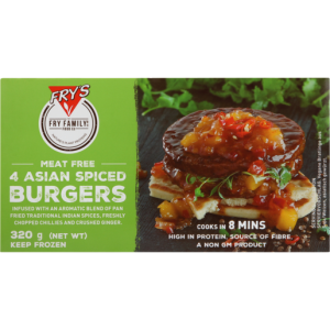 Fry's Frozen Asian Spiced Vegetarian Burgers 320g