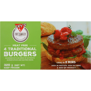 Fry's Frozen Traditional Vegetarian Burgers 320g