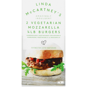Linda McCartney's 2 Quarter Pound Frozen Mozzarella Vegetarian Burgers 227g