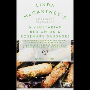Linda McCartney's 6 Frozen Red Onion & Rosemary Vegetarian Sausages 300g