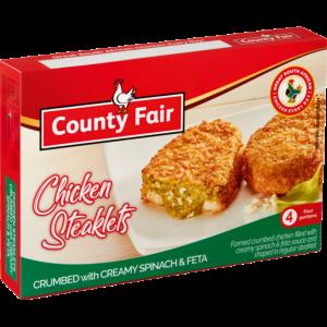 County Fair Frozen Chicken Steaklet With Spinach & Feta Sauce 400g
