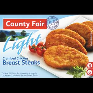 County Fair Light Frozen Crumbed Chicken Breast Steaks 400g