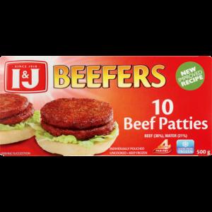 I&J Beefers Frozen Beef Patties 500g