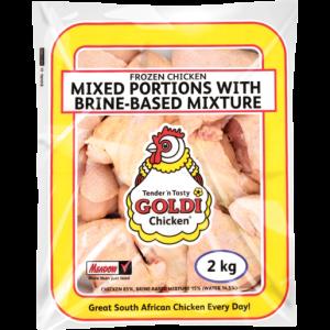 Goldi Chicken Frozen Mixed Chicken Portions With Brine Based Mixture 2kg