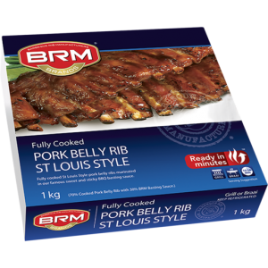 BRM Brands Pre-Cooked St. Louis Style Pork Belly Ribs 1kg